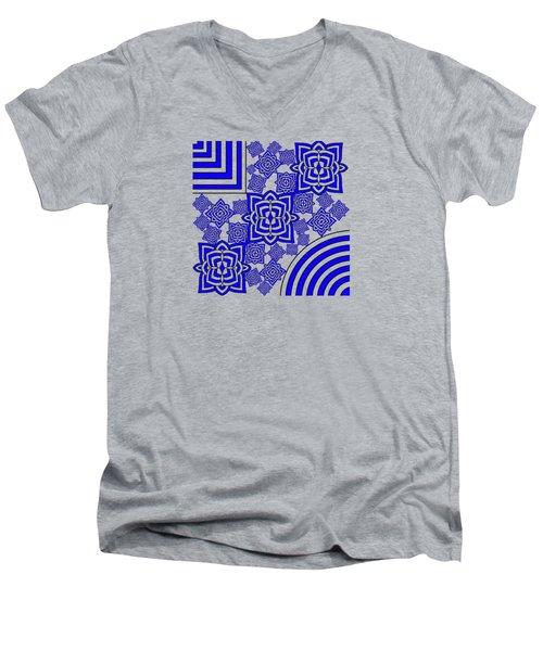 Blue Floral Patterns Men's V-Neck T-Shirt