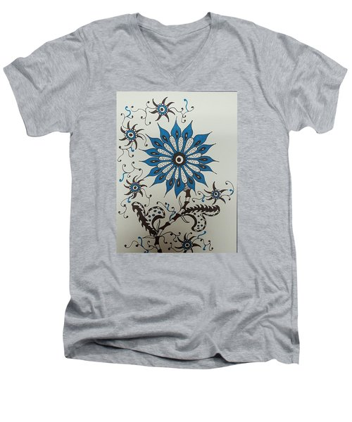 Blue Flower 3 Men's V-Neck T-Shirt