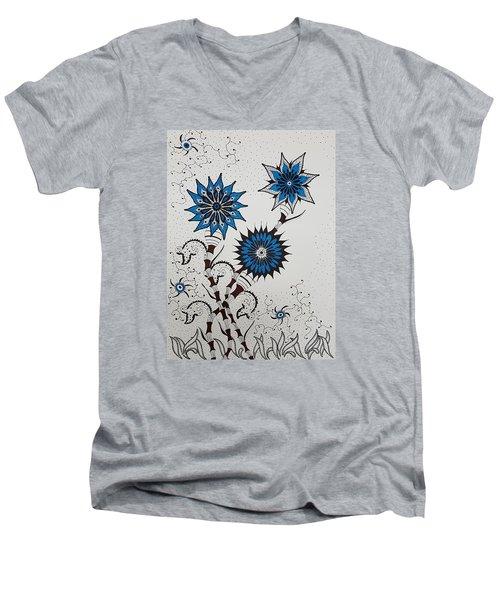 Blue Flower 4 Men's V-Neck T-Shirt