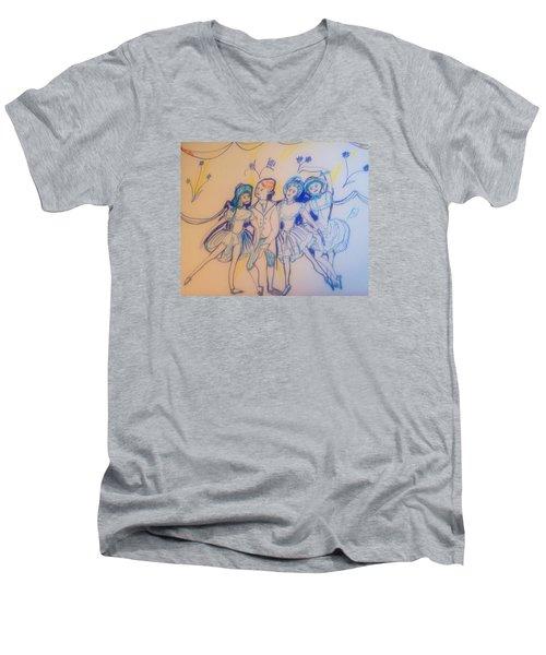 Blue Flower Polka Men's V-Neck T-Shirt by Judith Desrosiers
