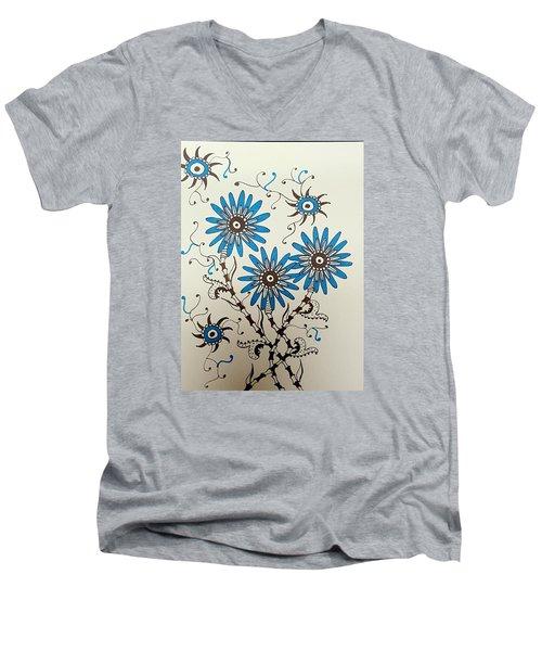 Blue Flowers 2 Men's V-Neck T-Shirt