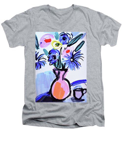 Blue Flowers And Coffee Cup Men's V-Neck T-Shirt