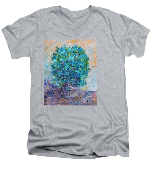 Men's V-Neck T-Shirt featuring the painting Blue Flowers In A Vase by AmaS Art