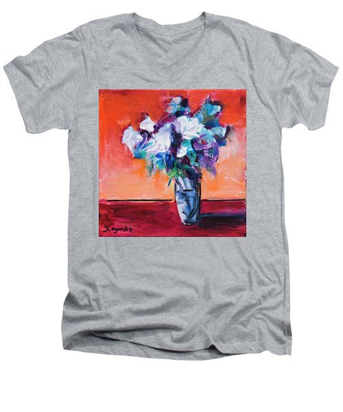Blue Flowers In A Vase Men's V-Neck T-Shirt by Yulia Kazansky