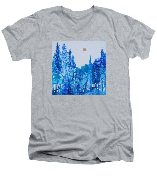 Blue Forest Men's V-Neck T-Shirt by Suzanne Canner