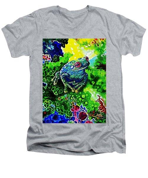 Blue  Frog Men's V-Neck T-Shirt by Hartmut Jager
