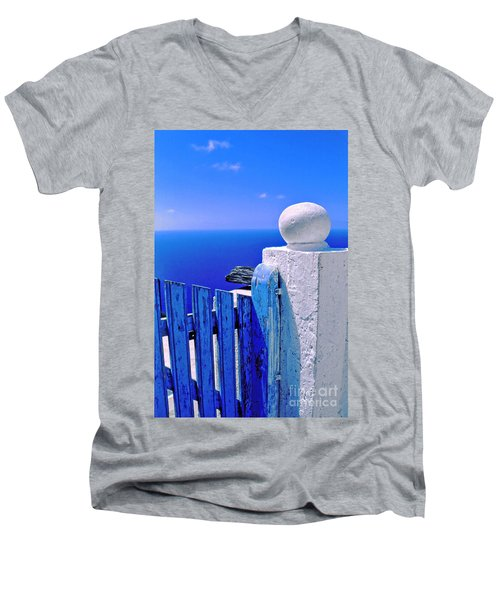 Blue Gate Men's V-Neck T-Shirt by Silvia Ganora