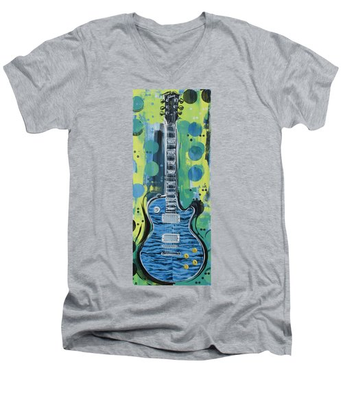 Blue Gibson Guitar Men's V-Neck T-Shirt