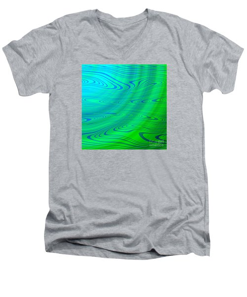 Blue Green Distort Abstract Men's V-Neck T-Shirt