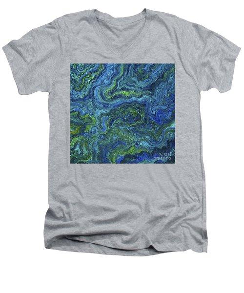 Blue Green Texture Men's V-Neck T-Shirt