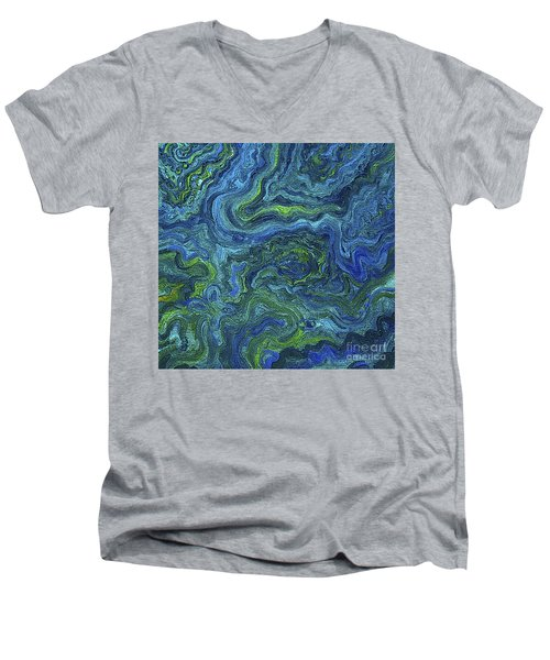 Blue Green Texture Men's V-Neck T-Shirt