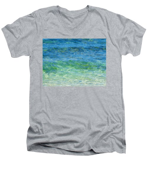 Blue Green Waves Men's V-Neck T-Shirt