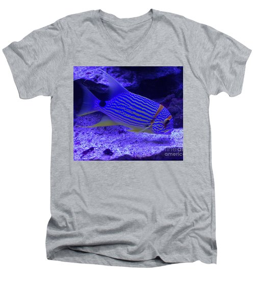 Men's V-Neck T-Shirt featuring the photograph Blue Fish Groupie by Richard W Linford