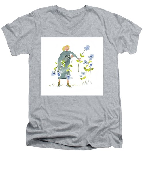 Men's V-Neck T-Shirt featuring the painting Blue Harvest by Leanne WILKES