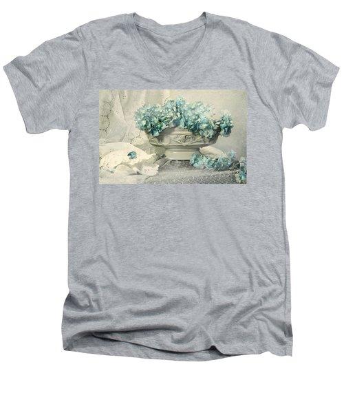 Blue Heart Men's V-Neck T-Shirt by Diana Angstadt