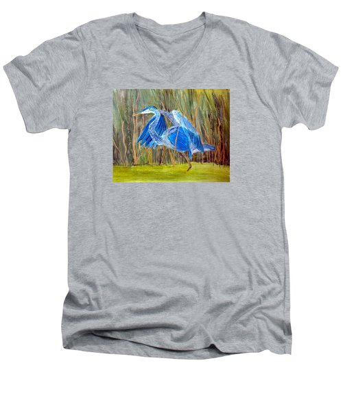 Blue Heron In Viera  Florida Men's V-Neck T-Shirt