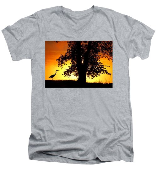 Men's V-Neck T-Shirt featuring the photograph Blue Heron At Sunrise by Sumoflam Photography