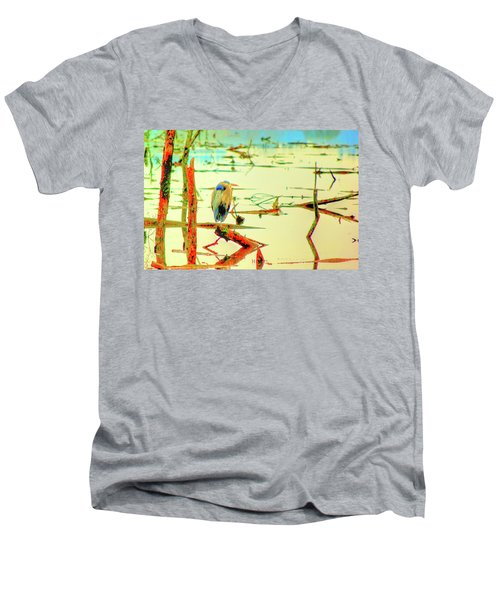 Men's V-Neck T-Shirt featuring the photograph Blue Heron by Dale Stillman