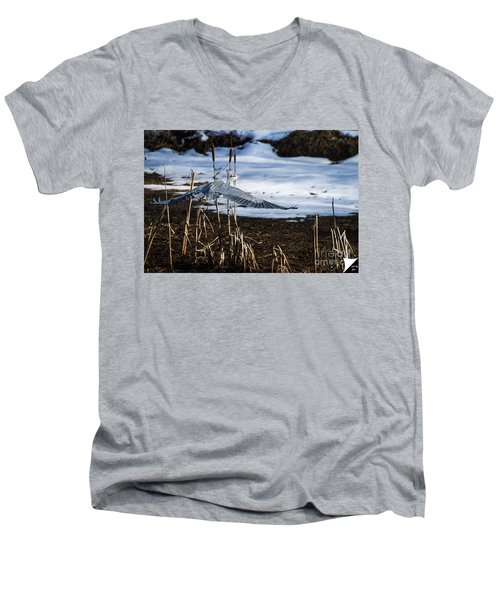 Men's V-Neck T-Shirt featuring the photograph Blue Heron by Jim  Hatch
