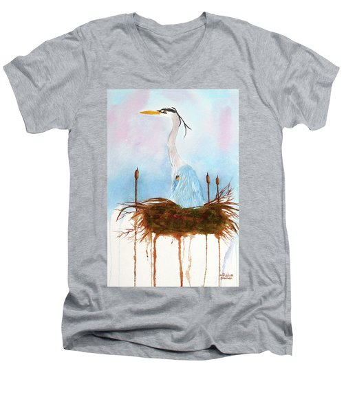 Blue Heron Nesting Men's V-Neck T-Shirt