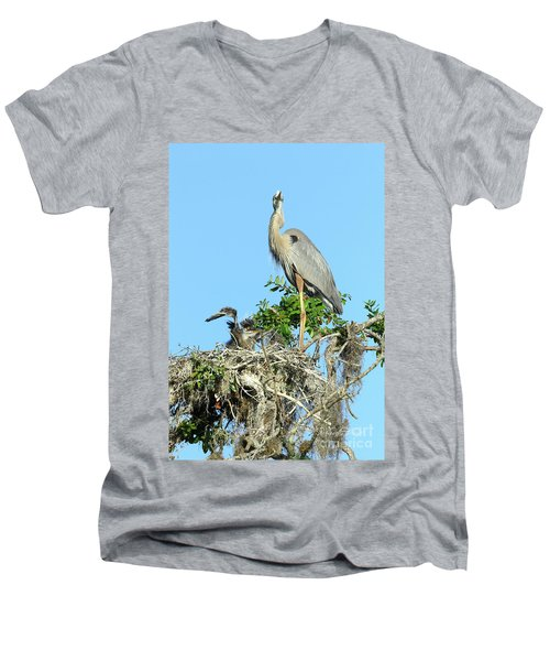 Men's V-Neck T-Shirt featuring the photograph Blue Heron Series Baby 2 by Deborah Benoit