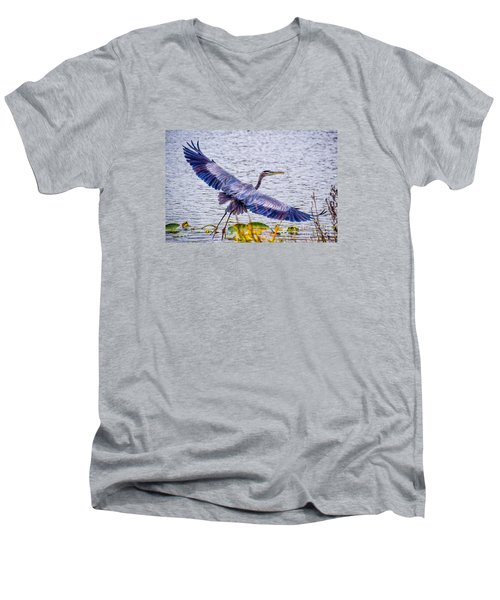 Blue Heron  Take Off  Men's V-Neck T-Shirt