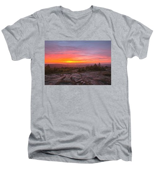 Blue Hill Overlook Alpenglow Men's V-Neck T-Shirt