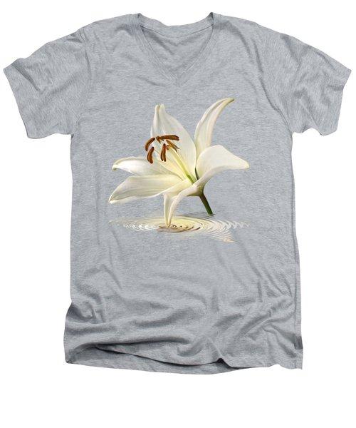 Blue Horizons - White Lily Men's V-Neck T-Shirt by Gill Billington