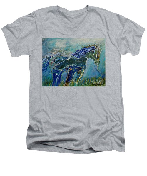 Men's V-Neck T-Shirt featuring the painting Blue Horse by Deborah Nell