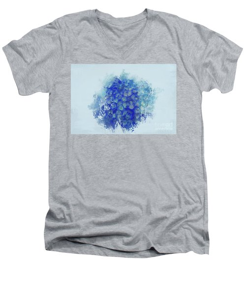 Blue Hortensia Men's V-Neck T-Shirt by Eva Lechner
