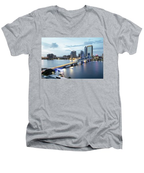 Blue Hour In Jacksonville Men's V-Neck T-Shirt
