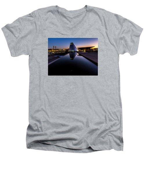 Blue Hour Reflections On Glass Men's V-Neck T-Shirt