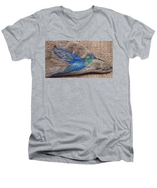 Blue Hummingbird Men's V-Neck T-Shirt by Ann Michelle Swadener