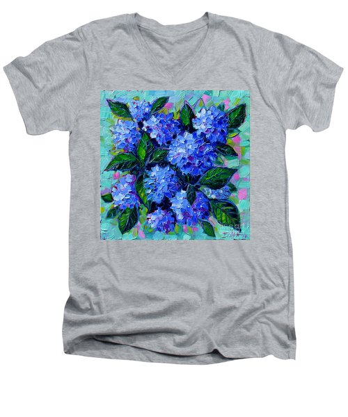 Blue Hydrangeas - Abstract Floral Composition Men's V-Neck T-Shirt