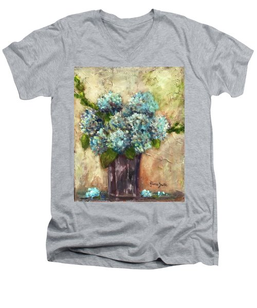 Blue Hydrangeas Men's V-Neck T-Shirt