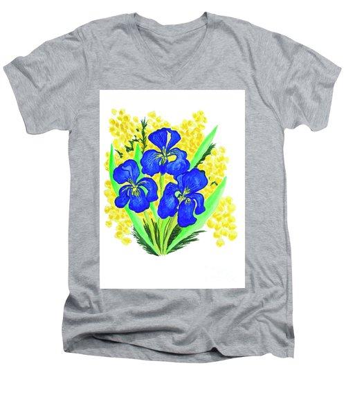 Blue Irises And Mimosa Men's V-Neck T-Shirt