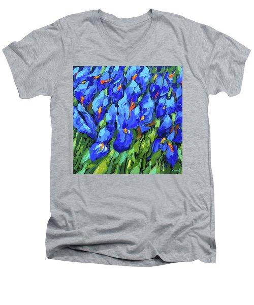 Blue Irises Men's V-Neck T-Shirt by Dmitry Spiros