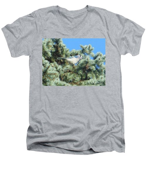 Men's V-Neck T-Shirt featuring the photograph Blue Jay Colorado Spruce by Rockin Docks Deluxephotos