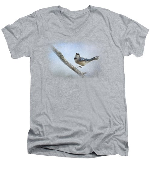 Blue Jay In The Snow Men's V-Neck T-Shirt by Jai Johnson