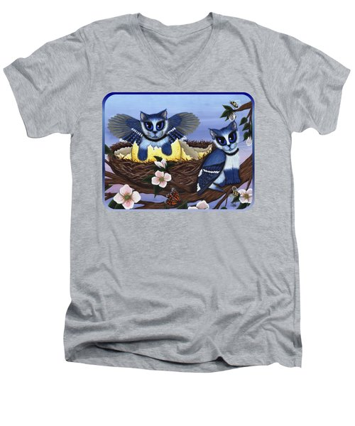 Men's V-Neck T-Shirt featuring the painting Blue Jay Kittens by Carrie Hawks