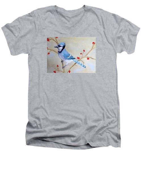Blue Jay Men's V-Neck T-Shirt by Laurel Best