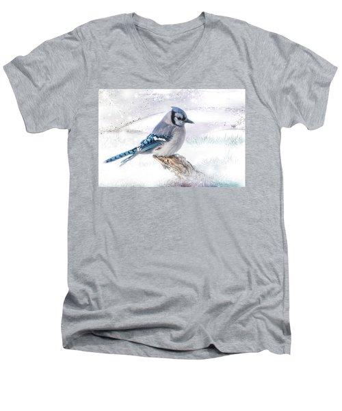 Blue Jay Snow Men's V-Neck T-Shirt