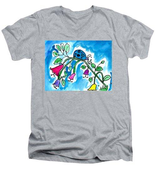 Blue Ladybug Men's V-Neck T-Shirt