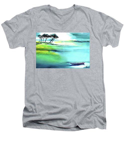 Men's V-Neck T-Shirt featuring the painting Blue Lagoon by Anil Nene