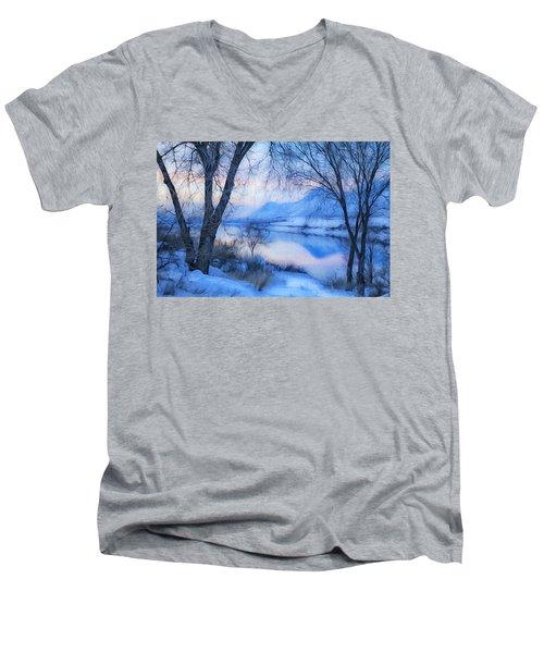 Blue Landscape Men's V-Neck T-Shirt by Theresa Tahara