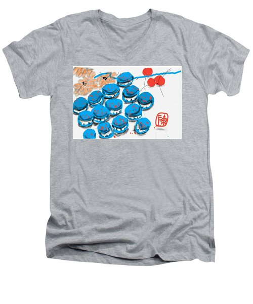 blue Macaroons for golden gal Men's V-Neck T-Shirt