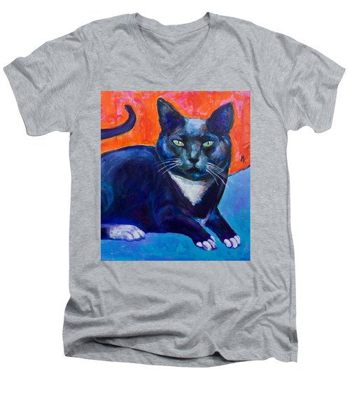 Blue Men's V-Neck T-Shirt by Maxim Komissarchik