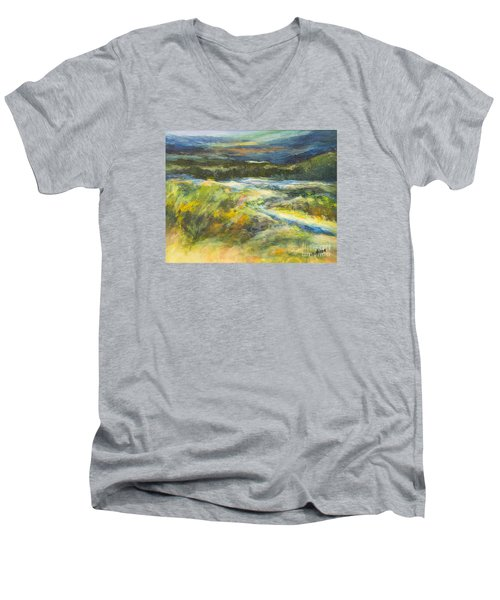 Blue Meadows Men's V-Neck T-Shirt by Glory Wood