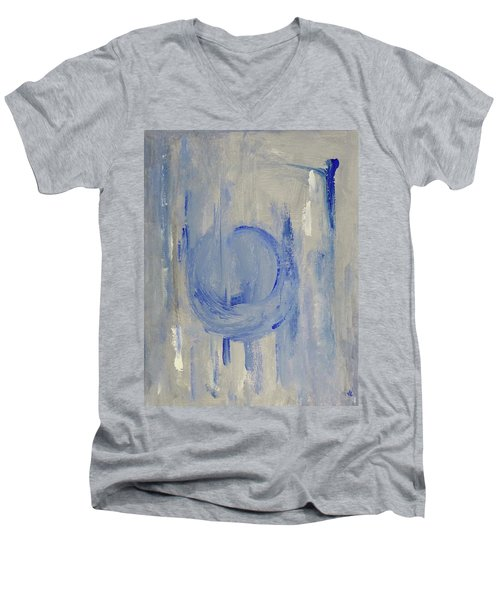 Men's V-Neck T-Shirt featuring the painting Blue Moon by Victoria Lakes