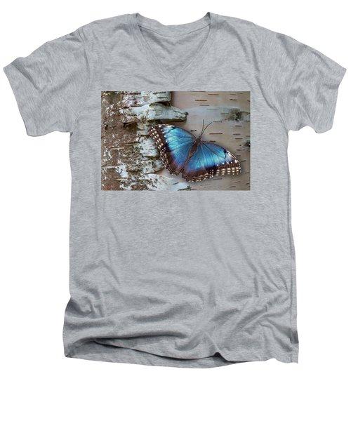 Blue Morpho Butterfly On White Birch Bark Men's V-Neck T-Shirt